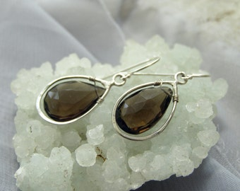 Smoky Quartz Dark earrings - Big Drop Dangle earrings - Smoky brown earrings - Drama Earrings