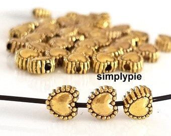 50 Antiqued Gold Heart Beads 6mm