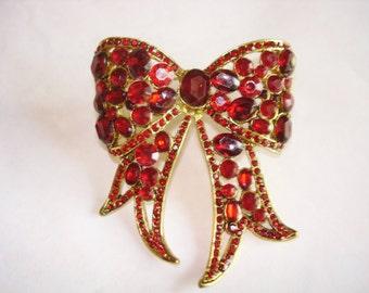 Vintage Jewelry Red  Rhinestones Bow Brooch .