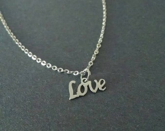 Silver Love Necklace. Layering Necklace. Silver Necklace. Stainless Steel. Inspirational Necklace. Bridal Jewelry. Script. Hypoallergenic