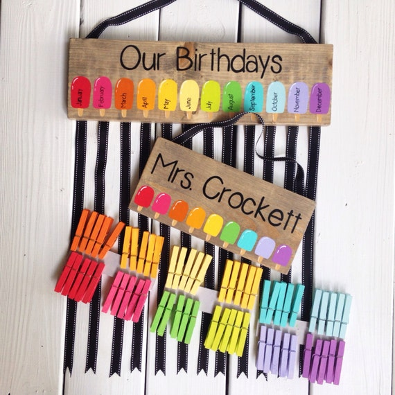 Classroom Birthday Ideas For A Teacher ~ Teacher set birthday chart teachername sign classroom