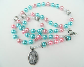 Pink and Blue Saints Cosmas and Damian Prayer Chaplet Rosary:Patron of Physicians, Surgeons, Pharmacists Ibeji Marassa Divine Twins