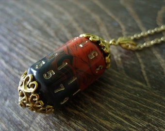 D20 dice necklace dungeons and dragons pendant dice pendant D20 pendant dice jewelry dice necklace red swirls black dice geekery