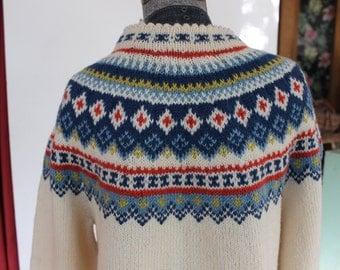 Norwegian Handknitted Sweater Husfliden Oslo Made in Norway Wool Large Cardigan VINTAGE by Plantdreaming