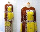 1960s / 70s Vintage Paganne Maxi Jersey Dress / Yellow Copper Cafe Floral Geo Gene Berk Dress