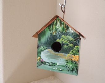 Hand Painted Scenic Decorative Wood Birdhouse. Unique Outdoor Green Painted Wooden Birdhouse.