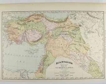 1898 Map of Middle East, Turkestan Map Iraq, Armenia Map, Turkey in Asia Minor Map, Syria Palestine Map, Office Art Gift for Guy