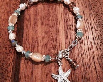 Mother of pearl starfish bracelet