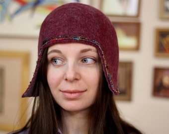 """Hand felted merino wool retro style cloche hat in burgundy and  dark gray fall spring fashion for her """"Silent movie"""""""