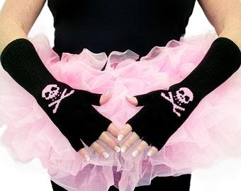 Skull and Crossbones Fingerless Gloves-Black and Pink Rhinestone Bling- Halloween Costume,Roller Derby, Cosplay, SALE-Dress Up
