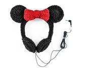 Crocheted Minnie Mouse Headphones