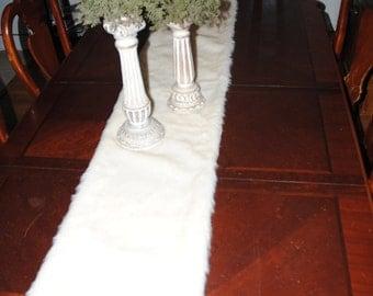 """Faux Fur Artic Fox Cream 45"""" Christmas Table Runner, Secret Santa Gift, Christmas Gift"""