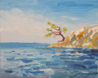 In The Breeze,  8 x 10 ( 20 x 26 cm) original oil painting. Yvonne Wagner. Caribbean. Sea. Rocky shore. Seascape. SALE.