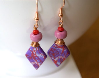 Purple Polymer Clay Earrings, Diamond Shaped Earrings, Abstract Earrings, Wire Wrapped Earrings, Lampwork Glass Earrings, Unique Earrings