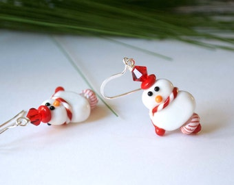 Christmas Snowgirl Earrings, Lampwork Glass Dangle, Festive Holiday Jewelry, Stocking Stuffer, Red White Earrings