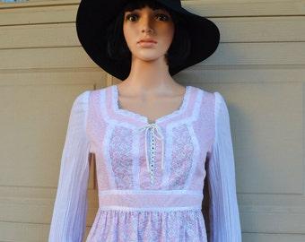 Pink Boho Dress Long Sleeve Maxi Dress 70s Hippie Dress 70s Boho Dress Floral Print Epsteam