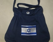 Custom Order for Connie Yvonne Purse with Symbols for Israel in Blue Denim