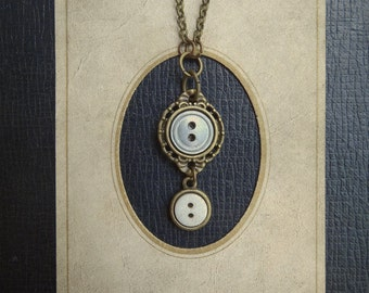 Tiny Vintage Button Necklace - Something Borrowed, Something Blue