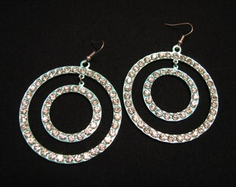 GIANT Vintage Pave Crystal Diamond Rhinestone Aqua Rings Dangle Pierced Earrings