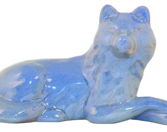 Frankoma Pottery Laying Down Wolf Blue Figurine