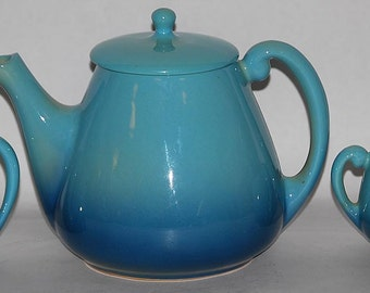 Roseville Pottery Utility Ware Blue Three Piece Tea Set
