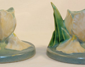 Roseville Pottery Iris Blue Candle Holders 1134