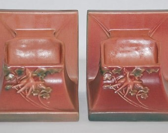 Roseville Pottery Columbine Pink Planter Book Ends 8-5