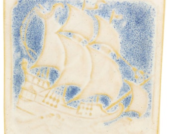 Marblehead Pottery Ship Tile
