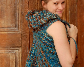 Umbrella turquoise flecked vest and cape ready to ship