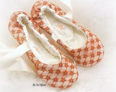 Ballet Flats, Ivory, Burnt Orange, Orange, Wedding, Bridal, Maid of Honor, Shoes, Lace up, Flower Girl, Flats, Lace, Vintage, Fall Wedding