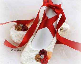 Ballet Flats, Red, Gold, Raspberry, Ivory, Bridal, Fall Wedding, Shoes, Flats, Ballerina Slippers, Flower Girl, Crystals, Lace, Satin
