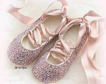 Rose Gold Flats, Crystal Flats, Wedding Flats, Ballet Flats, Rose, Gold, Lace Up, Shoes, Ballerina Slippers, Champagne, Cinderella, Elegant