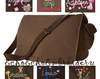 Messenger Bag Personalized! Multi Purpose Raw-Edge  Blue, Pink, Black or Brown  Great Diaper bag, or School bag