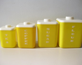 Vintage mid century canister set 1950s yellow canisters