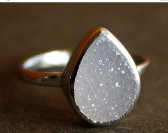 25% OFF Silver White Agate Druzy Ring - Teardrop - Sterling, Stacking Ring