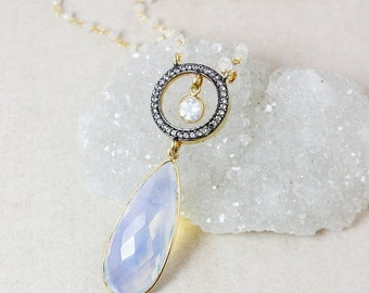 25% OFF White Opalite Teardrop Necklace – Pave White Topaz – Rainbow Moonstone Beaded Chain