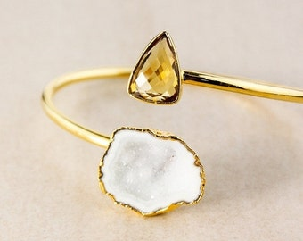20% OFF White Geode and Yellow Citrine Quartz Bangle – Choose Your Favorite Bangle