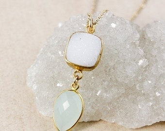 50% OFF Aqua Chalcedony Pendant Necklace – White Druzy – 14K Gold Filled
