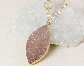 50% OFF SALE - Pink Chalcedony and Druzy Leaf Necklace – Choose Your Druzy – Freshwater Pearl Beaded Chain