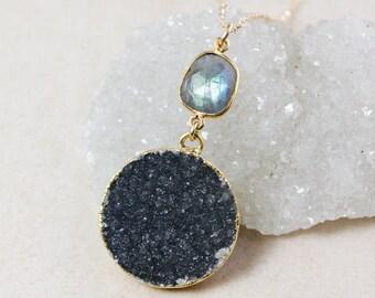 50% OFF SALE - Blue Labradorite and Black Druzy Necklace – 14K Gold Filled