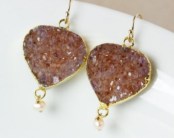 50% OFF SALE - Druzy and Freshwater Pearl Dangle Earrings – Choose Your Druzy – 14K Gold Filled Hooks