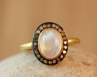 CLEARANCE SALE Gold Rainbow Moonstone Ring - Pave Diamond Setting - Oval Stone Ring
