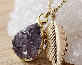 50 OFF SALE Purple Druzy and Feather Charm Necklace - 14K Gf - Druzy Jewelry