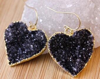 50 OFF SALE Black Druzy Heart Earrings - Dangle Earrings - Heart Jewelry