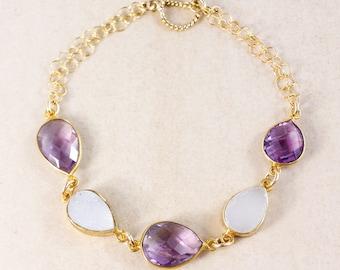 Pink Amethyst Bracelet – White Druzy – 14K Gold Filled