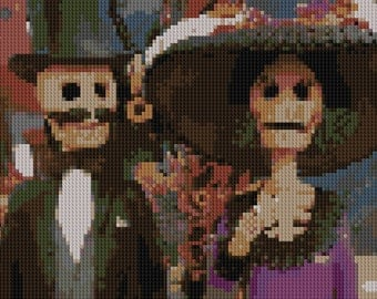 Day of the Dead couple counted Cross Stitch Pattern mustache and big hat
