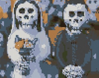 Day of the Dead wedding couple counted Cross Stitch Pattern