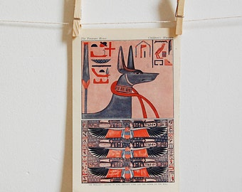 Vintage Ancient Egypt Anubis Hieroglyphics Encyclopedia Color Art Print Wall Hanging from 1920s.