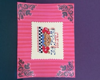Apple Pie Cross Stitched Notecard