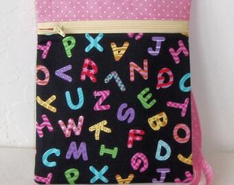 Cross body Mini messenger and cell phone bag- Child's pink with alphabet letters zip bag- passport holder- children storage-  KBD10104